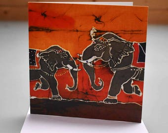 Dancing Elephants Card - elephant card, blank inside card, elephant birthday card, grey elephant card, Indian elehant card, elephant art