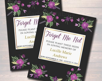 Funeral Memorial Favor, Forget Me Not Seed Labels, Printable, INSTANT + EDITABLE, Celebration of Life, Funeral Thank You Gift, Remembrance