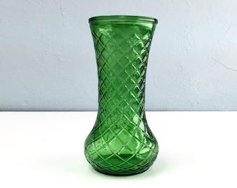 Hoosier Glass Vase, Pressed Diamond Pattern Art Glass, Large Flower Vase