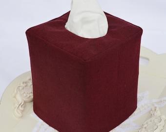 Burgundy Linen tissue box cover