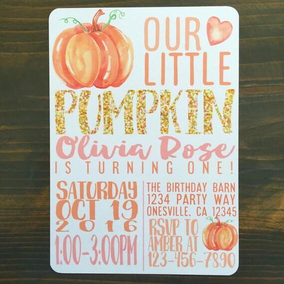 Printable pumpkin first birthday invitation custom pumpkin filmwisefo Image collections