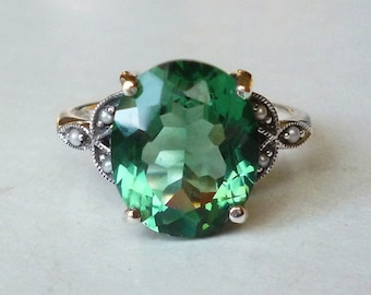 Gorgeous Green Emerald Seed Pearl Sterling Silver Antique Style Ring // Victorian Edwardian Art Nouveau Art Deco May Birthstone Engagement