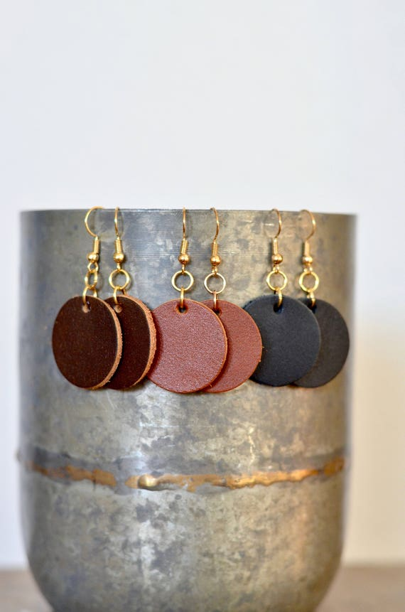 Small Circle Earrings, genuine full-grain leather essential oil diffuser earrings in Caramel, Chocolate & Black, gold look earwires