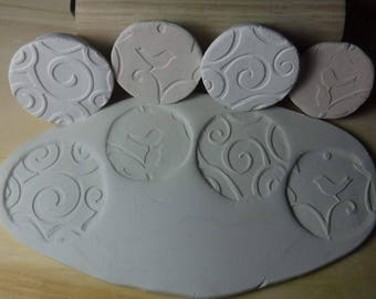 4 Pottery Texture Clay Stamps // Bird stamp // Clay stamp // Set #A19
