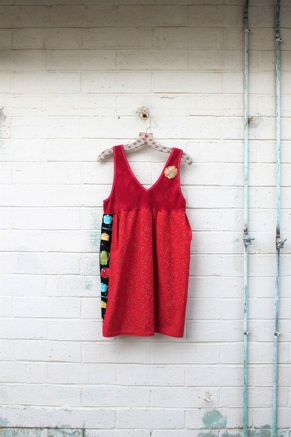 Red Folk Dress/Upcyled Clothing/Eco Dress/Upcycled Dress/Upcycled fairy Dress/Farmhouse Chic/Anthropologie style/cottage chic/rustic farm