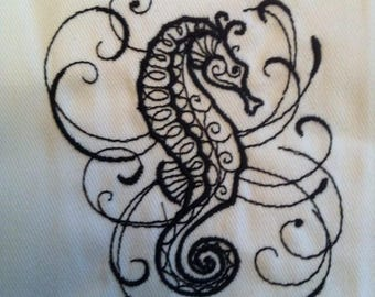 """Sea Horse Embroidered Hand/Dish Towel 18"""" X 18"""""""