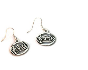 Musical notes earrings, musician earrings, silver music notes earrings, musician gift, musical partition earrings
