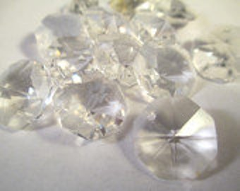 12 Chandelier Crystals Prism 1-HOLE Octagons - 14mm Asfour Full LEAD CRYSTAL (S-T)