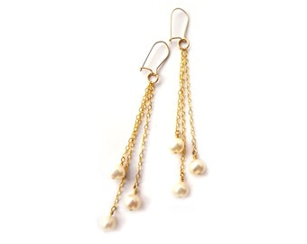 Freshwater pearl and chain earrings