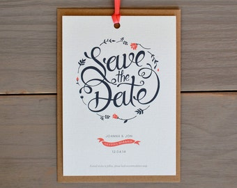Floral Wreath Save the Date, Grey & Coral Pink