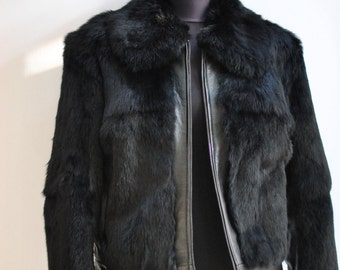 Vintage STEFANEL fur and leather jacket , women jacket ....(133)
