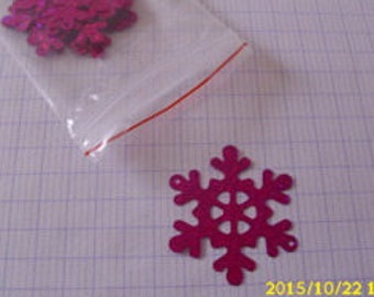 set of 12 glitter star snow fuschia 4 X 3.5 cm