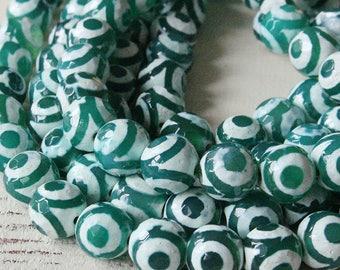 10mm Round Tibetan Agate Beads - Dzi Beads - Jewelry Making Supply -  Agate Gemstone Beads - 16 Inches