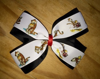 Calvin and Hobbes hair bow