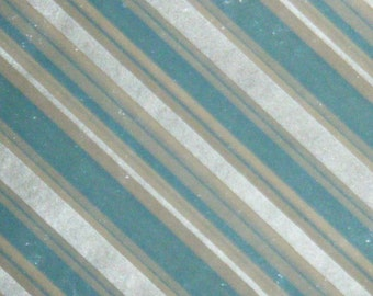 60's Blue and Silver metallic vintage gift Wrap general purpose 1960's wrapping paper