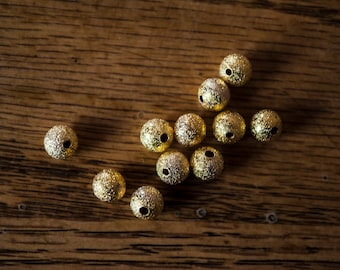 6mm Gold or Silver Stardust Round Beads - Qty 25