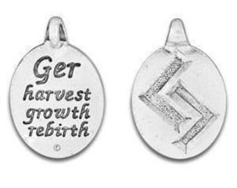 Set of two Rune Pendant, Ger Rune Symbol, Norse Symbol, Celtic Symbol, Jera Rune, Ger, Harvest, Growth, Rebirth, Pewter, Made in USA