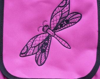 Blackwork Dragonfly Bag Dragonfly embroidered design. Reporter Bag. Vape Bag.