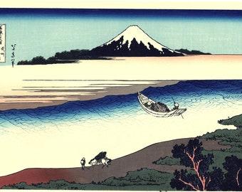 "Japanese Ukiyo-e Woodblock print, Hokusai, ""Tama River in Musashi Province, Thirty-six Views of Mount Fuji"""