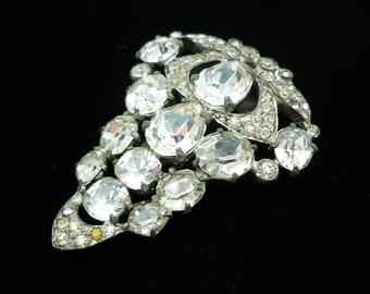 Vintage SIGNED Eisenberg Original Clear Rhinestone Fur Clip, Antique Jewelry, 1930s Jewelry, Large Brooches, Antique Fur Clip, Antique Pins