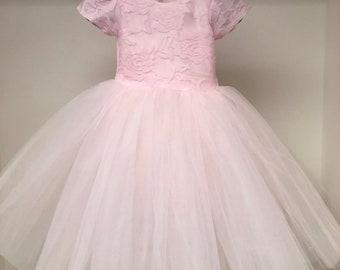 NewBirthdayDress pink lace tutu skirt floral pretty fun dress