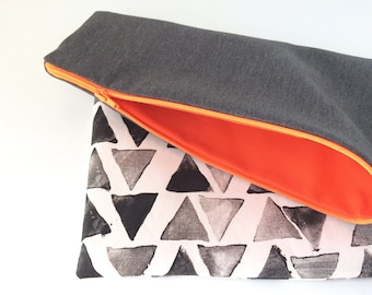 Oversized Grey Triangles Foldover Clutch / oversized clutch / foldover purse / clutch purse / clutch bag / clutches Canada