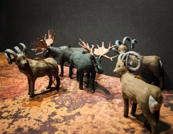 Set of Five Fiber Mache Rams and Moose Ornaments