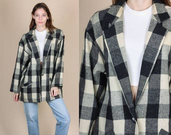 70s Buffalo Plaid Womens Blazer - XL // Vintage Black & White Wool One Button Jacket