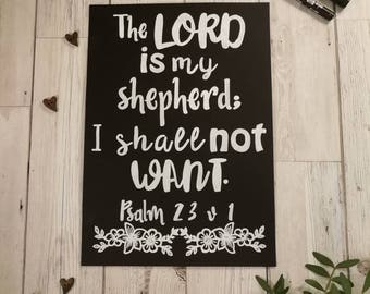 The LORD is my shepherd - Psalm 23 v 1 - Chalkboard Bible Verse - Christian Gift - Home Decor