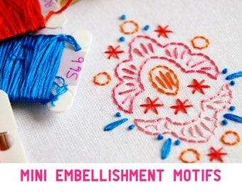 Mini Embellishment Motifs Embroidery patterns PDF