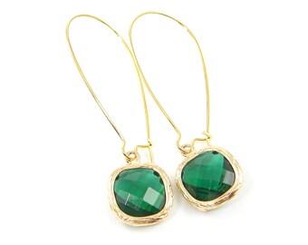 Emerald Green Long Drop Earrings, Crystal Emerald Drop in Long Kidney Wire, May Birthstone Faceted Stone Gold Dangle Earrings  EB1-12