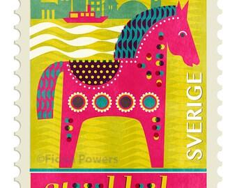 Stockholm stamp Giclee print