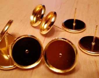 Gold tone 12 mm tray cabochon earring setting 10pcs -A3:12