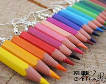 Choice of color pencils earrings a pair for the teacher gift / home