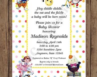 Nursery rhyme invitations etsy custom printed nursery rhyme baby shower invitation cow jumped over the moon hey diddle filmwisefo Images