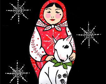 Russian Doll with Bull Terrier Christmas Card Set of Five From Russia with Love