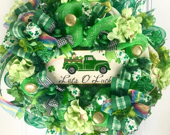 St Patricks Day Wreath, St Patricks Decorations, front door wreath, outdoor wreath, deco mesh wreath, wreaths for front door