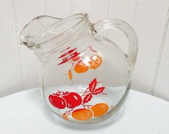 Vintage 1950s Hazel Atlas Orange & Tomatoes Tilted Ball Pitcher, Ice Lip