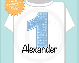 First Birthday Onesie, Light Blue Number 1 1st Birthday Shirt, Personalized Boys Birthday Onesie, Blue Age and Name Infant Tee (06202012a)