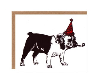 Bulldog in a Party Hat -- Funny Screenprinted Birthday Card