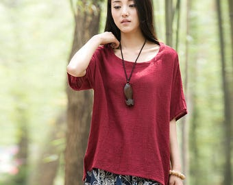 Women cotton and linen T-shirt – Original Retro Cotton and Linen Short Sleeve T-shirt
