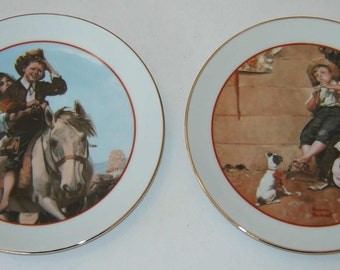 """Special Sale: Vintage NORMAN ROCKWELL """"Young Love Series"""" Two (2) Special Edition Commemorative Plates  - 1982"""
