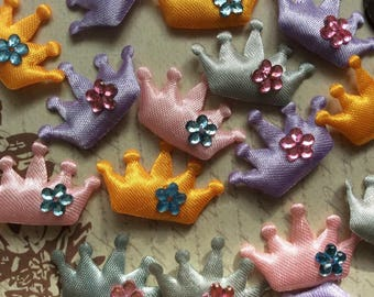 SET of 20 Satin with Flower Gem Assortment Padded Crown Appliques/trim/embellishments/DIY/hair bow/Hair clip/Pink/Gray/Purple/Yellow