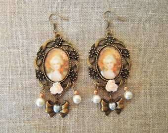 Retro earrings, Locket Marie-Antoinette