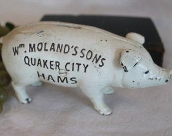 Vintage Cast Iron Pig Coin Bank - Wm. Moland's Sons Quaker City Hams