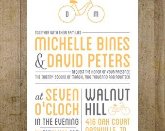 Custom Modern Bike Digital Wedding Invitation