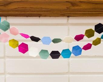 tiny dancer (hexagon) -- felt garland // teal grean pink fuchsia black white, hexagon garland, modern girl nursery, birthday, baby shower