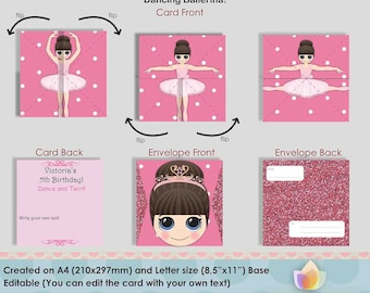 Editable Dancing Ballerina invitations for Ballet Swan Party