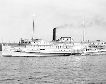 "1906 Steamboat City of Bangor Vintage Photograph 13"" x 19"" Reprint"