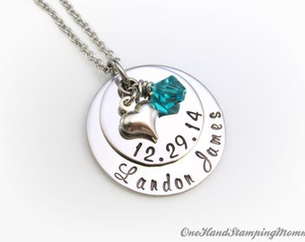 Personalized Mom Necklace - Hand Stamped Necklace - Personalized Jewelry - Mom Necklace - New Mother Necklace